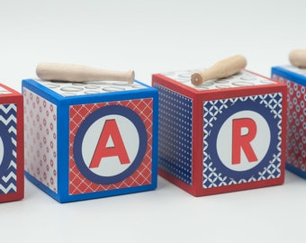 Baby Name Blocks, Nursery Name Blocks, Baby Shower Gift, Baseball Nursery Name Blocks, Baseball Theme, Chicago Cubs colors, photo prop