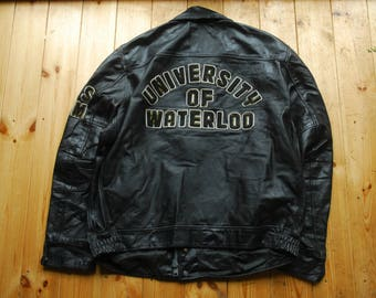 Vintage 1980's All Leather Varsity Letterman College Sports Jacket by Wolff of Canada 52