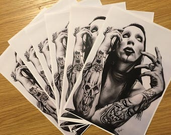 A4 Marilyn Manson Drawing Print