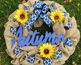 Autumn Wreath | Fall Wreath | Thanksgiving Wreath | Front Door Wreath | Rustic Wreath | Burlap Wreath | Fall Decor | Wreaths for Fall