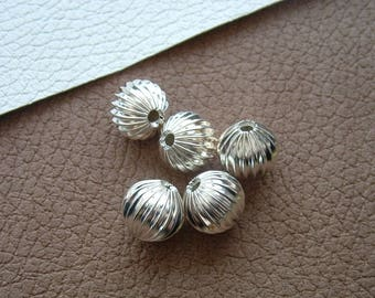 Set of 5 pumpkin 12mm silver-plated round beads