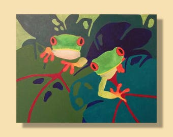 Unique tree frog painting Original tree frog painting Green art Acrylic abstract frogs Colorful fun bright frogs by RKMJCreations