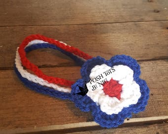 Red white & blue flower headband