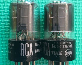 Matched Pair RCA Black Plate 6SN7 6SN7GTA Tubes