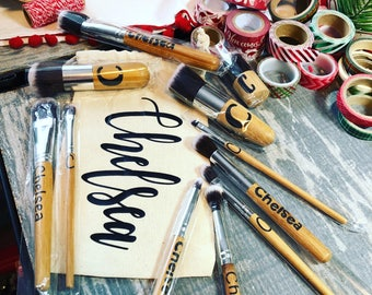 Personalized Bamboo Makeup Brush Set