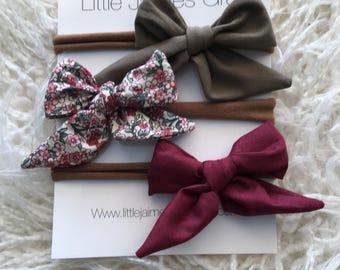 Sailor bows, little bows, headband, floral