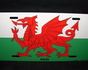 WALES FLAG Metal License Plate For Cars  Welsh Dragon