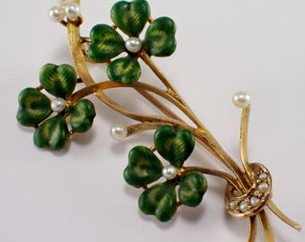 Antique 10k Yellow Gold Enamel and Pearl Brooch