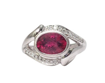 14k White Gold Tourmaline and Diamond Bypass Ring, Vintage Ring, Tourmaline Ring, Pink Tourmaline, Bypass Ring, Estate Jewelry, Vintage