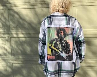 Women's Jimi Hendrix Flannel (XL)   custom made   one of a kind   vintage flannel   oversized flannel