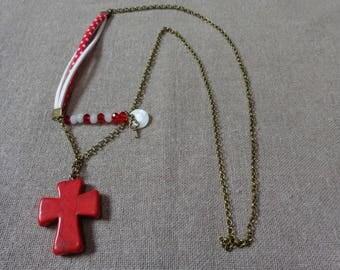 Red bronze cross pendant necklace