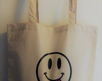 "Tote bag, novelty Smiley ""The Show must go on"""