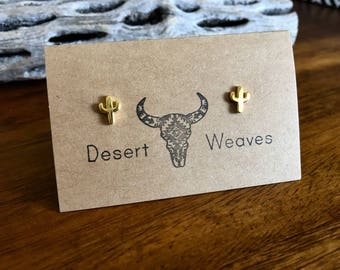 Gold cactus earrings, cactus stud earrings, southwestern earrings, saguaro cactus earrings, tiny cactus studs, gold cactus stud earrings