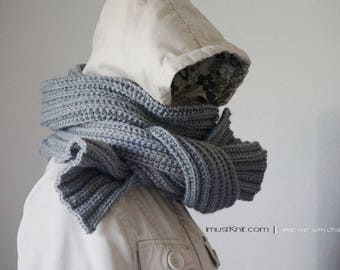 hand knit scarf || knitted winter scarf | chunky ribbed scarf || silver grey scarf || | knit mens scarf -silver grey 71''