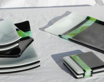 14 Piece Fused Glass Dish Set