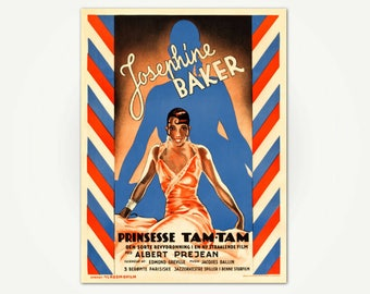 Josephine Baker Movie Poster Print - Princess Tam-Tam Vintage Danish Film Poster Art