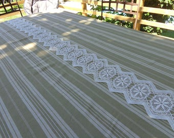 Tablecloth in beige and white ticking and French guipure lace shabby chic style