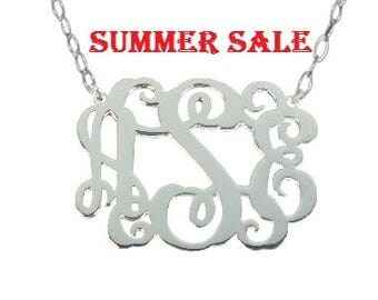 Sterling Silver Monogram Necklace Any Initial Monogram Necklace 2 inch Personalize Silver Monogram Necklace
