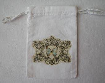 Printed white fabric retro bag