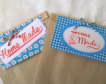 """Two bags """"Home Made"""" gift tags, red and blue"""