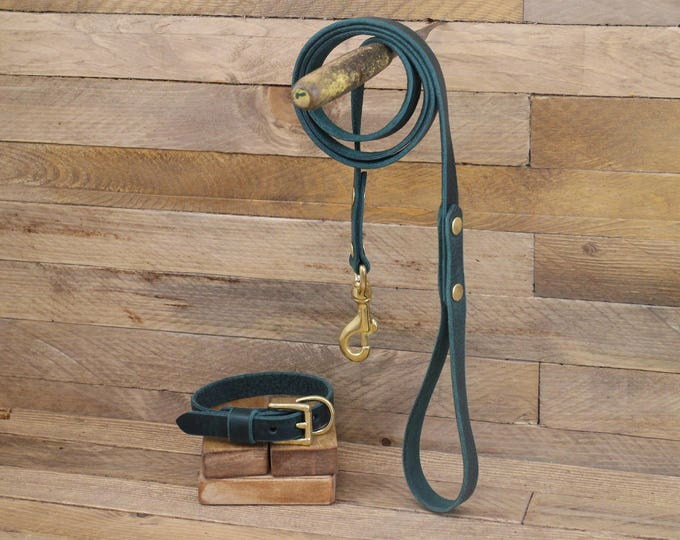 Leather dog leash, Dog leash, Leather lead, Pet gift,Walk leash, Lead, Handmade leather leash, Dog collar and leash, Dog, Puppy, Green Leash
