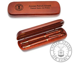 Personalized Air Force Seal Cherrywood Double Pen and Box Set - Custom Airman Pen Gift Set - Gift for Airman - US Air Force Pen Set
