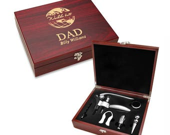 World's Best Dad Wine 5 Piece Tools Gift Set - Cherry Wood Boxed Wine Accessories Set for Dad - Personalized Storage Box & Wine Tools