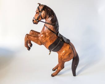 """Vintage Leather Covered Horse Statue Sculpture Rearing Horse Tall 16"""" English Equestrian"""