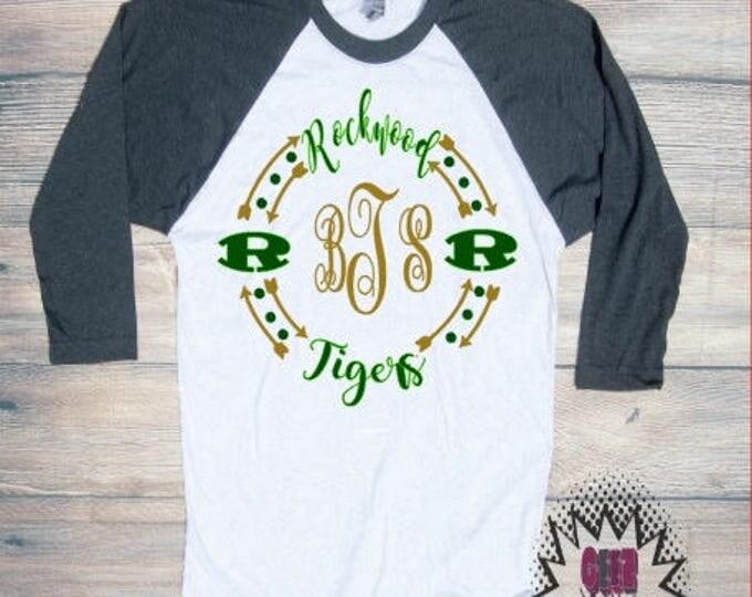 Rockwood Tigers T-shirt Adult Green Gold Football Roane Unisex Cotton Ball Sports