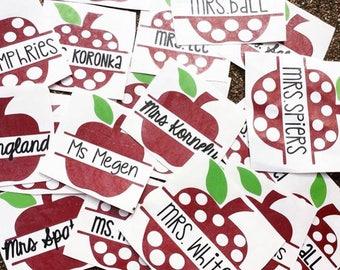 Apple Name Decal - Teacher Apple Decal - Teacher Monogram - Back to School Gift - Split Apple Name Decal - Polka Dot Apple Decal - Teacher