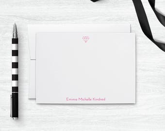 Personalized Stationery Set, Diamond Note Cards Personalized Gifts for Her, Cute Notecard Set Gift for Girlfriend, Custom Stationary Set