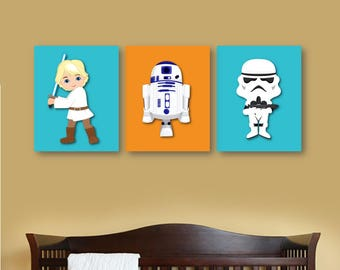 Star Wars Nursery Decor, Star Wars set of 3, 4, 5 or 6, Star Wars Prints, Star Wars bedroom décor, Personalized star wars decor