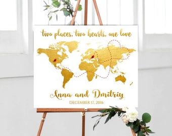Gold World Map Wedding Guest Book Alternative, World Map Guest Book canvas or poster, Gold Wedding Guest Book, Gold Personalized World Map