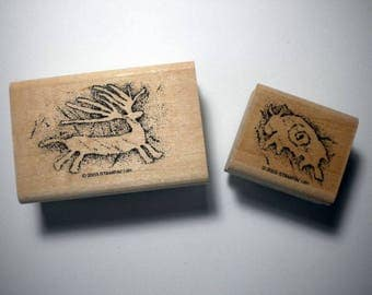 Rubber Craft Stamps - Set of 2 PREHISTORIC PAINTINGS, Stampin' Up, 2003 , pay it forward, PIF