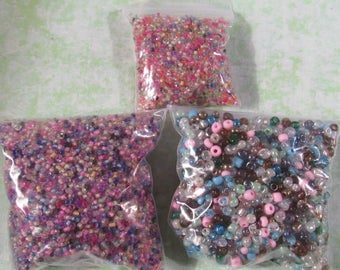 Assorted Glass Seed Beads (B382f-h)