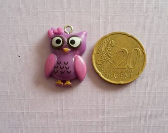 Purple and pink OWL or OWL charm. Kawaii, anime