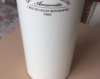French 'vintage enamel flower bucket vase'