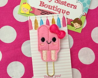 Planner clip - pink popcicle