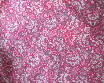 Pink  Paisley Baby Girl blanket whimsical changing pad cover burp cloth bedding