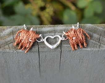 Handcrafted Highland Cow 'Love Moo' necklace, Highland Cow necklace, Highland Cow jewellery, Scottish jewellery, Scotland, Cow, Highlands