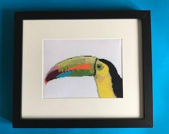 modern cross stitch toucan art Tropical decor Toucan cross stitch completed bird frame animal lover gift for bird lover tropical wall art