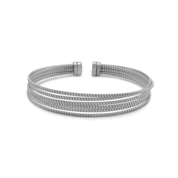 Rhodium Plated 6 Row Cuff Bracelet