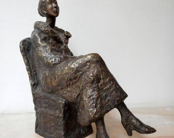 Home sculpture,Мodern sculpture,Bronze sculpture, Bronze statue of A young woman with a flower ,Limited edition,Small sculptural plastic