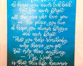 My Wish   Rascal Flatts   Hand painted   Lyric Canvas   Hand Lettered