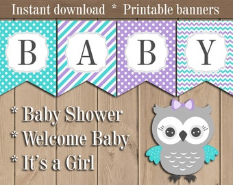 Purple and Teal Owl Baby shower Banner. Welcome Baby Its a Girl Banner. Diy Banner. Girl Baby shower printable. Banner download