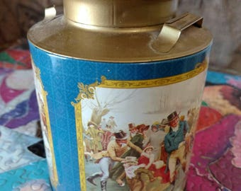 A beautiful blue and gold decorative tin