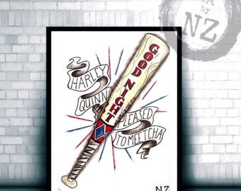 Harley Quinn Bat print // Good Night Bat // Suicide Squad Harley Quinn Print // Daddys lil Monster // girl gift idea