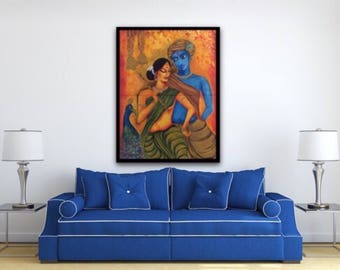 LARGE Radha Krishna Couple painting, textured acrylic painting, Traditional Figurative art, portrait, Modern Wall art, Home Decor,