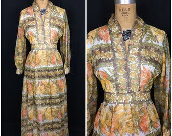 1970s I. Magnin Brown and Orange Long Sleeve Floral Print Maxi Dress 70s Miss Magnin Flower Novelty Print Pleated Sheer Sleeve Dress