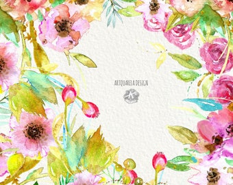 Watercolor Floral Bouquets.clipart flowers.Delicate flowers.Hand painted, floral, wedding ,  invite,poster,png.